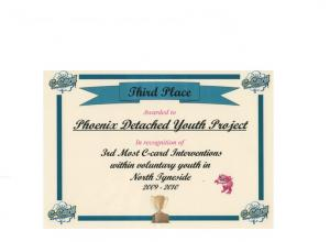Phoenix detached youth project wins 3rd place for most c-card interventions within voluntary youth in north tyneside