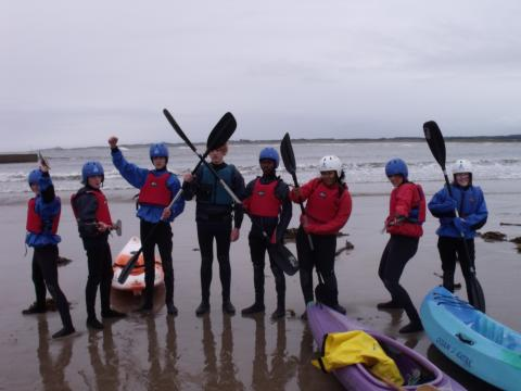 Young people kayaking